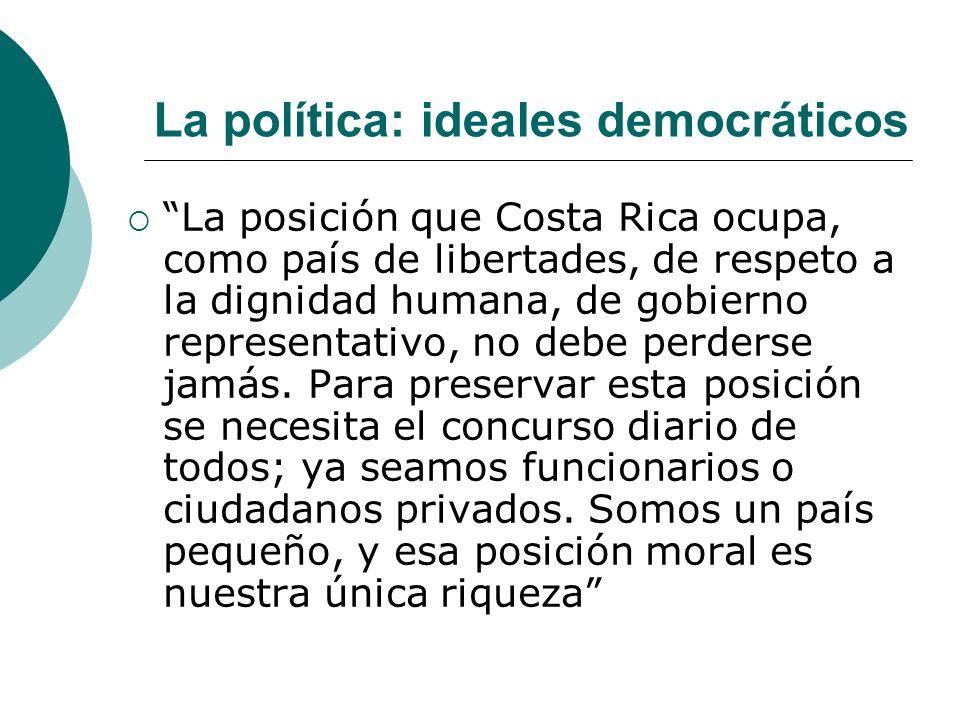 La política: ideales democráticos La posición que Costa Rica ocupa, como país de libertades, de respeto a la dignidad humana, de gobierno representati
