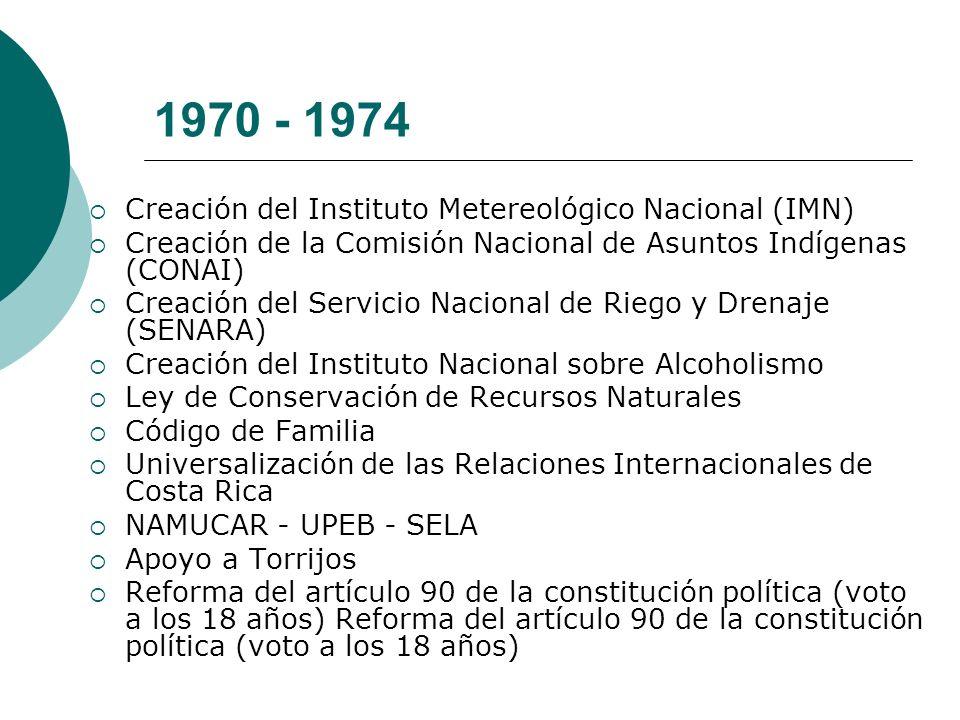 1970 - 1974 Creación del Instituto Metereológico Nacional (IMN) Creación de la Comisión Nacional de Asuntos Indígenas (CONAI) Creación del Servicio Na