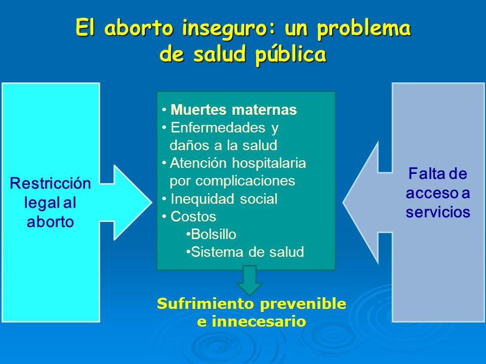 Restricción legal al aborto El aborto inseguro: un problema de salud pública Muertes maternas Enfermedades y daños a la salud Atención hospitalaria po