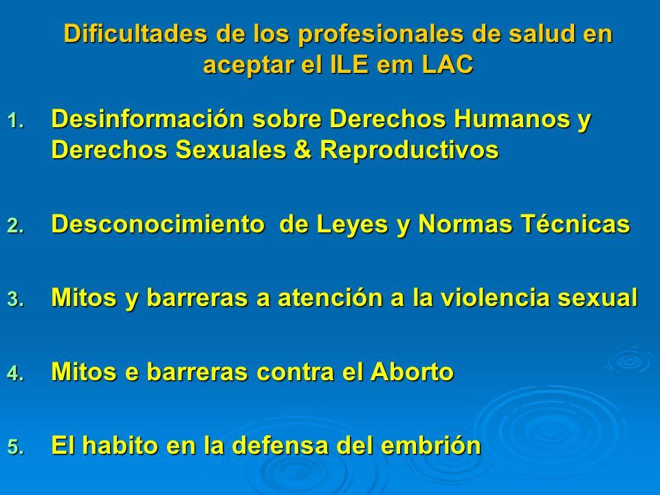 Dificultades de los profesionales de salud en aceptar el ILE em LAC 1. Desinformación sobre Derechos Humanos y Derechos Sexuales & Reproductivos 2. De