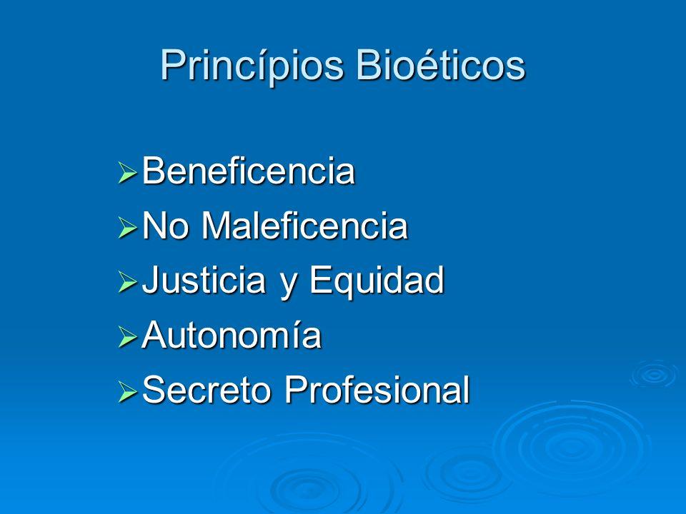 Princípios Bioéticos Beneficencia Beneficencia No Maleficencia No Maleficencia Justicia y Equidad Justicia y Equidad Autonomía Autonomía Secreto Profe