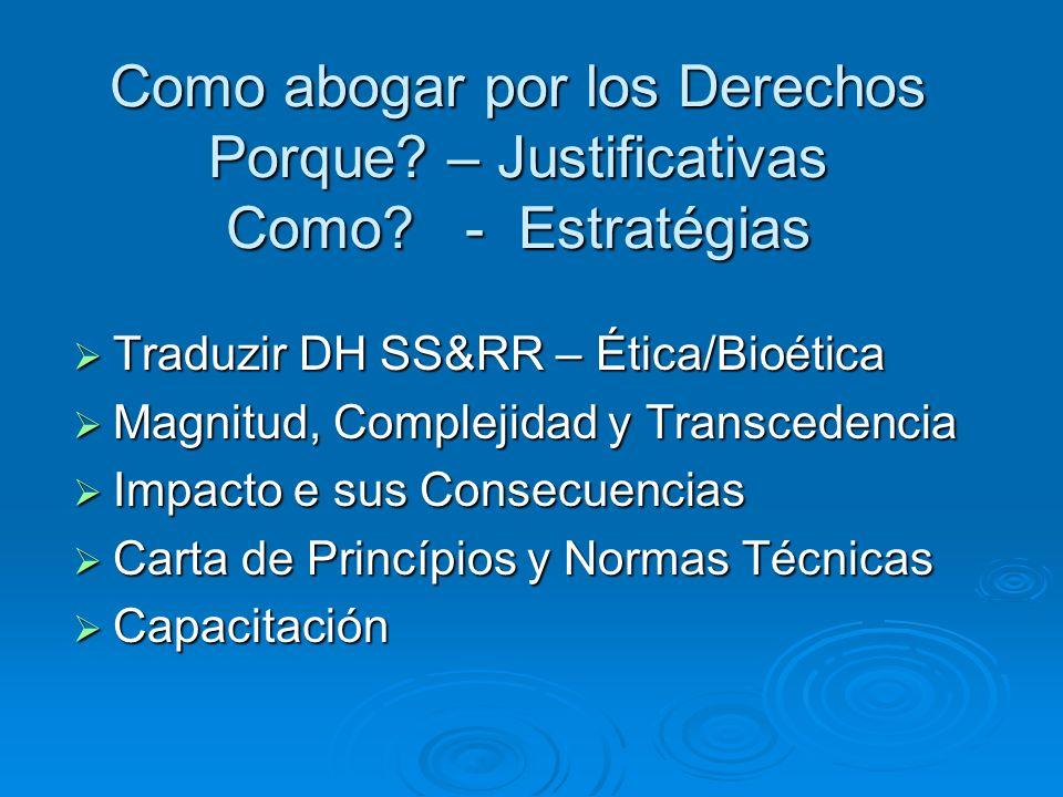 Como abogar por los Derechos Porque? – Justificativas Como? - Estratégias Traduzir DH SS&RR – Ética/Bioética Traduzir DH SS&RR – Ética/Bioética Magnit