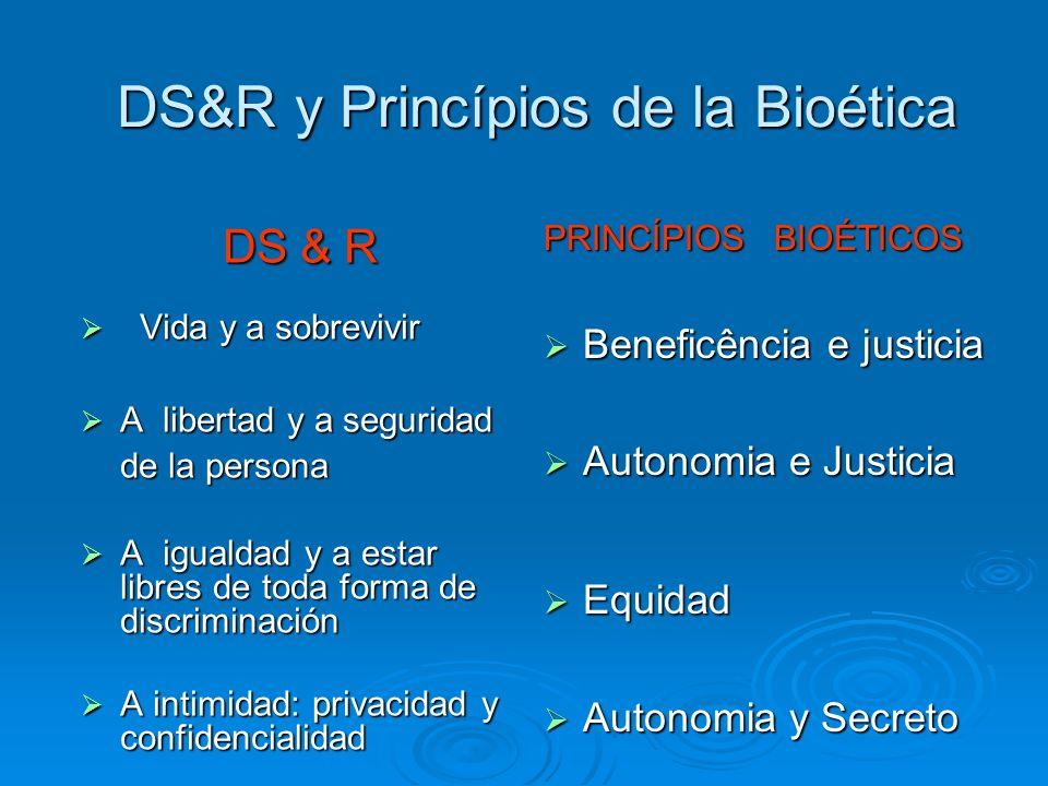 DS&R y Princípios de la Bioética DS & R DS & R Vida y a sobrevivir Vida y a sobrevivir A libertad y a seguridad de la persona A libertad y a seguridad