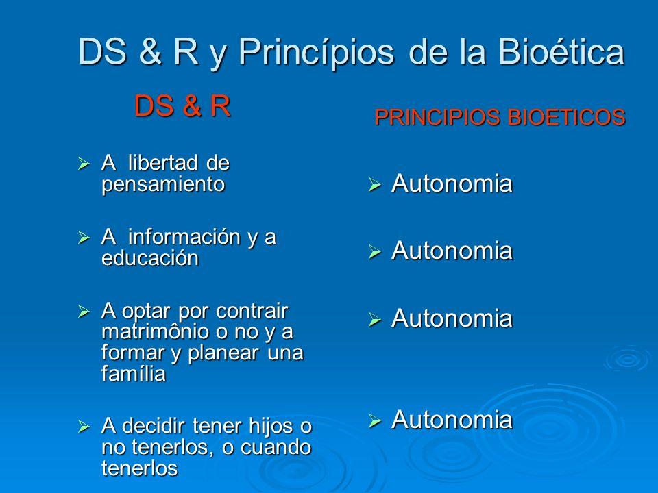 DS & R y Princípios de la Bioética DS & R DS & R A libertad de pensamiento A libertad de pensamiento A información y a educación A información y a edu