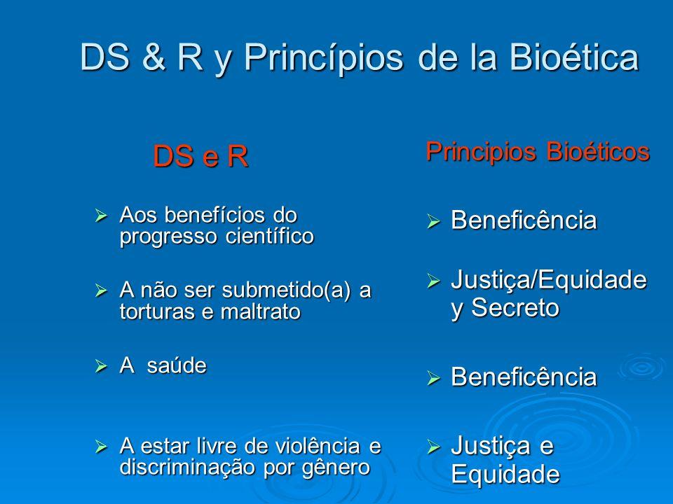 DS & R y Princípios de la Bioética DS e R DS e R Aos benefícios do progresso científico Aos benefícios do progresso científico A não ser submetido(a)