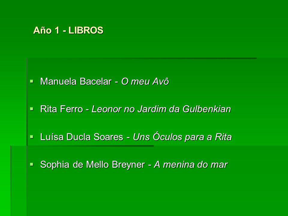 Año 1 - LIBROS Año 1 - LIBROS Manuela Bacelar - O meu Avô Manuela Bacelar - O meu Avô Rita Ferro - Leonor no Jardim da Gulbenkian Rita Ferro - Leonor