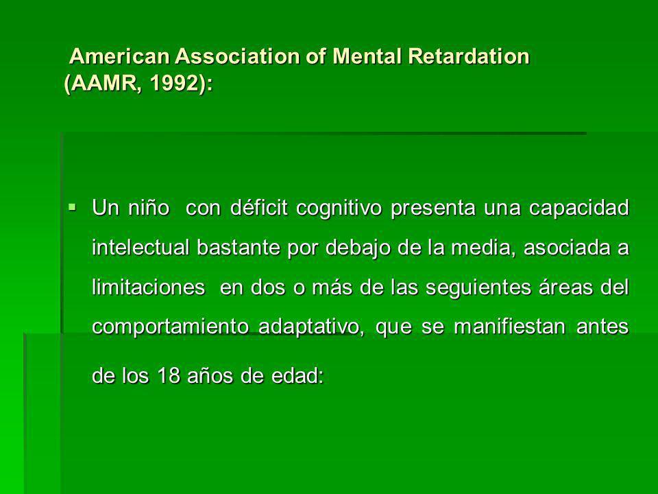 American Association of Mental Retardation (AAMR, 1992): American Association of Mental Retardation (AAMR, 1992): Un niño con déficit cognitivo presen