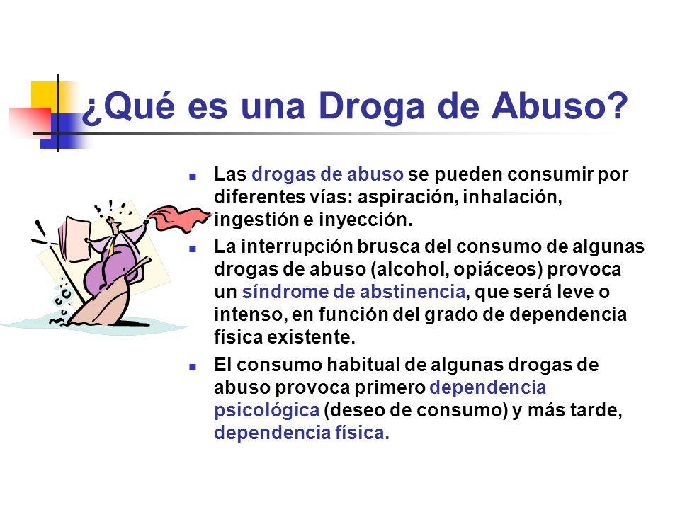 ¿Qué es una Droga de Abuso? Las drogas de abuso se pueden consumir por diferentes vías: aspiración, inhalación, ingestión e inyección. La interrupción