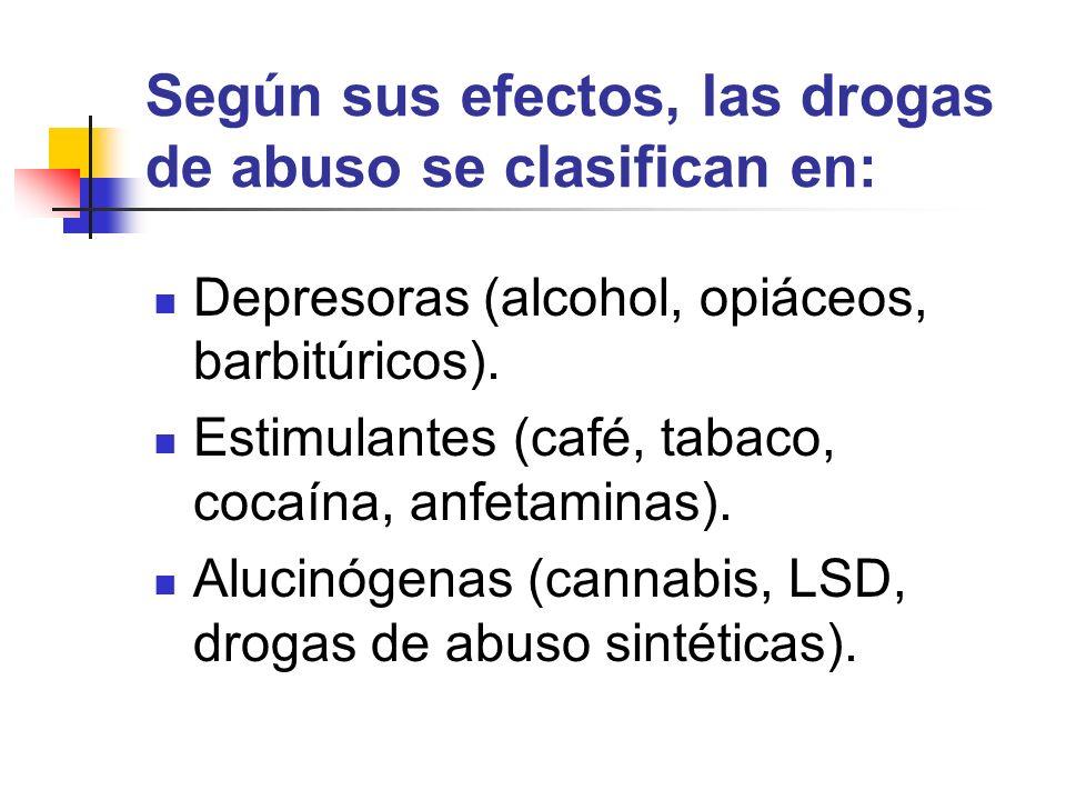 Según sus efectos, las drogas de abuso se clasifican en: Depresoras (alcohol, opiáceos, barbitúricos). Estimulantes (café, tabaco, cocaína, anfetamina