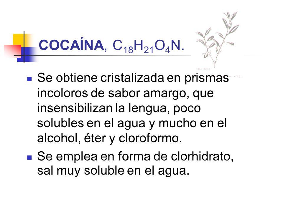COCAÍNA, C 18 H 21 O 4 N. Se obtiene cristalizada en prismas incoloros de sabor amargo, que insensibilizan la lengua, poco solubles en el agua y mucho