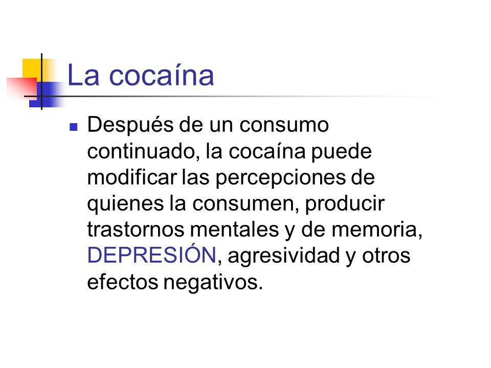 La cocaína Después de un consumo continuado, la cocaína puede modificar las percepciones de quienes la consumen, producir trastornos mentales y de mem