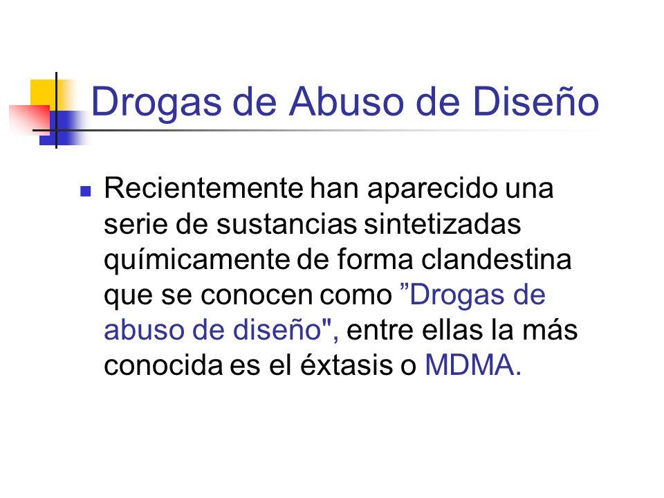 Drogas de Abuso de Diseño Recientemente han aparecido una serie de sustancias sintetizadas químicamente de forma clandestina que se conocen como Droga