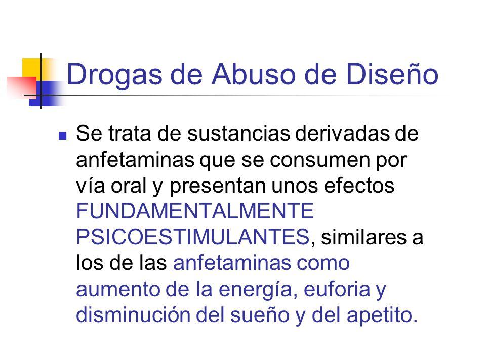 Drogas de Abuso de Diseño Se trata de sustancias derivadas de anfetaminas que se consumen por vía oral y presentan unos efectos FUNDAMENTALMENTE PSICO
