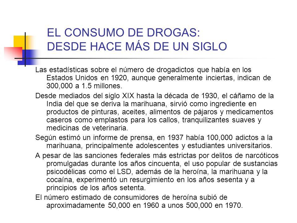 EL CONSUMO DE DROGAS: DESDE HACE MÁS DE UN SIGLO Las estadísticas sobre el número de drogadictos que había en los Estados Unidos en 1920, aunque gener