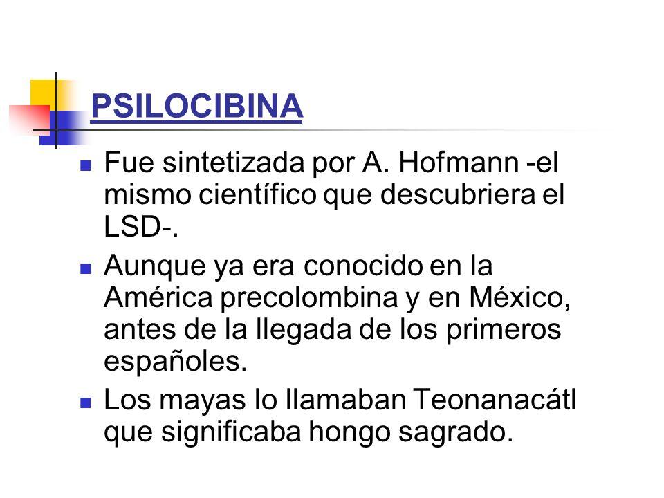 PSILOCIBINA Fue sintetizada por A. Hofmann -el mismo científico que descubriera el LSD-. Aunque ya era conocido en la América precolombina y en México