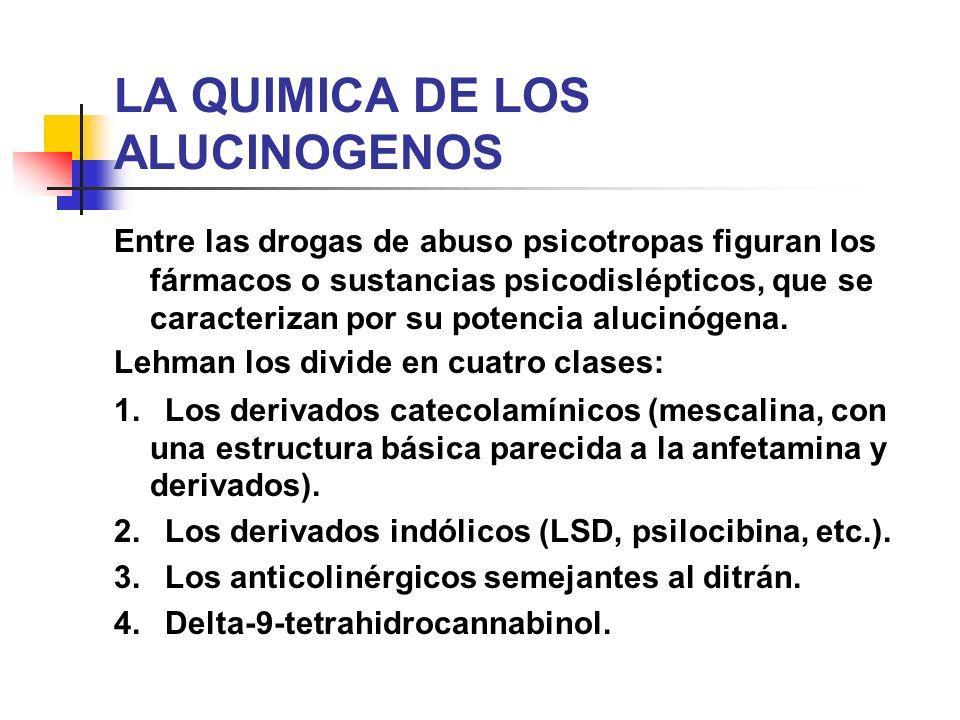 LA QUIMICA DE LOS ALUCINOGENOS Entre las drogas de abuso psicotropas figuran los fármacos o sustancias psicodislépticos, que se caracterizan por su po