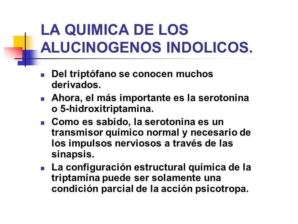 LA QUIMICA DE LOS ALUCINOGENOS INDOLICOS. Del triptófano se conocen muchos derivados. Ahora, el más importante es la serotonina o 5-hidroxitriptamina.