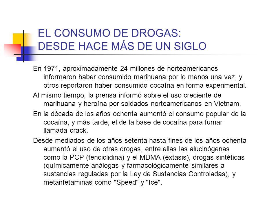 EL CONSUMO DE DROGAS: DESDE HACE MÁS DE UN SIGLO En 1971, aproximadamente 24 millones de norteamericanos informaron haber consumido marihuana por lo m