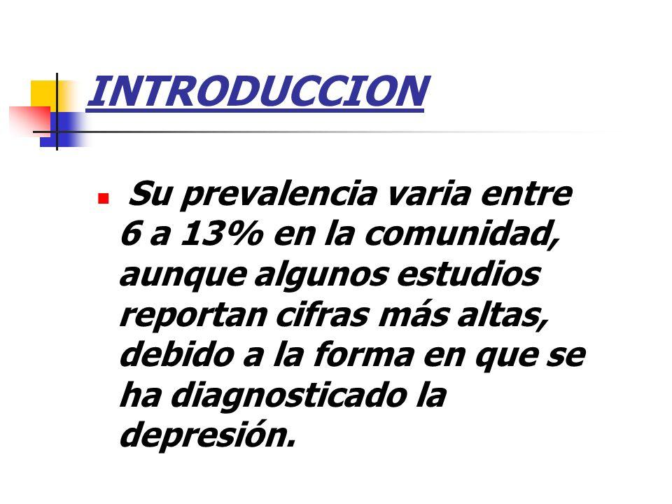 INTRODUCCION Su prevalencia varia entre 6 a 13% en la comunidad, aunque algunos estudios reportan cifras más altas, debido a la forma en que se ha dia