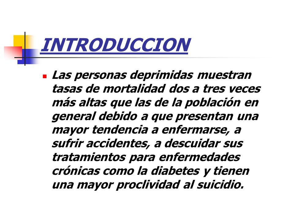 INTRODUCCION Las personas deprimidas muestran tasas de mortalidad dos a tres veces más altas que las de la población en general debido a que presentan