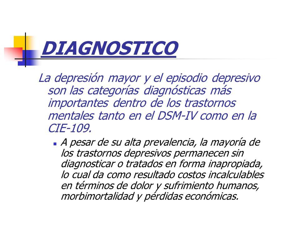 DIAGNOSTICO La depresión mayor y el episodio depresivo son las categorías diagnósticas más importantes dentro de los trastornos mentales tanto en el D