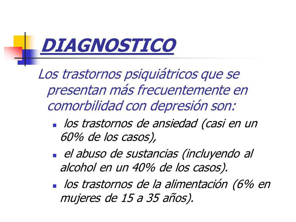 DIAGNOSTICO Los trastornos psiquiátricos que se presentan más frecuentemente en comorbilidad con depresión son: los trastornos de ansiedad (casi en un