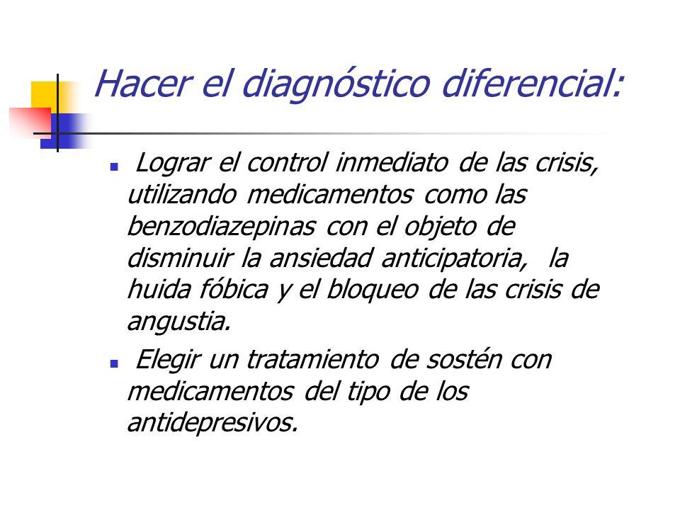 Hacer el diagnóstico diferencial: Lograr el control inmediato de las crisis, utilizando medicamentos como las benzodiazepinas con el objeto de disminu