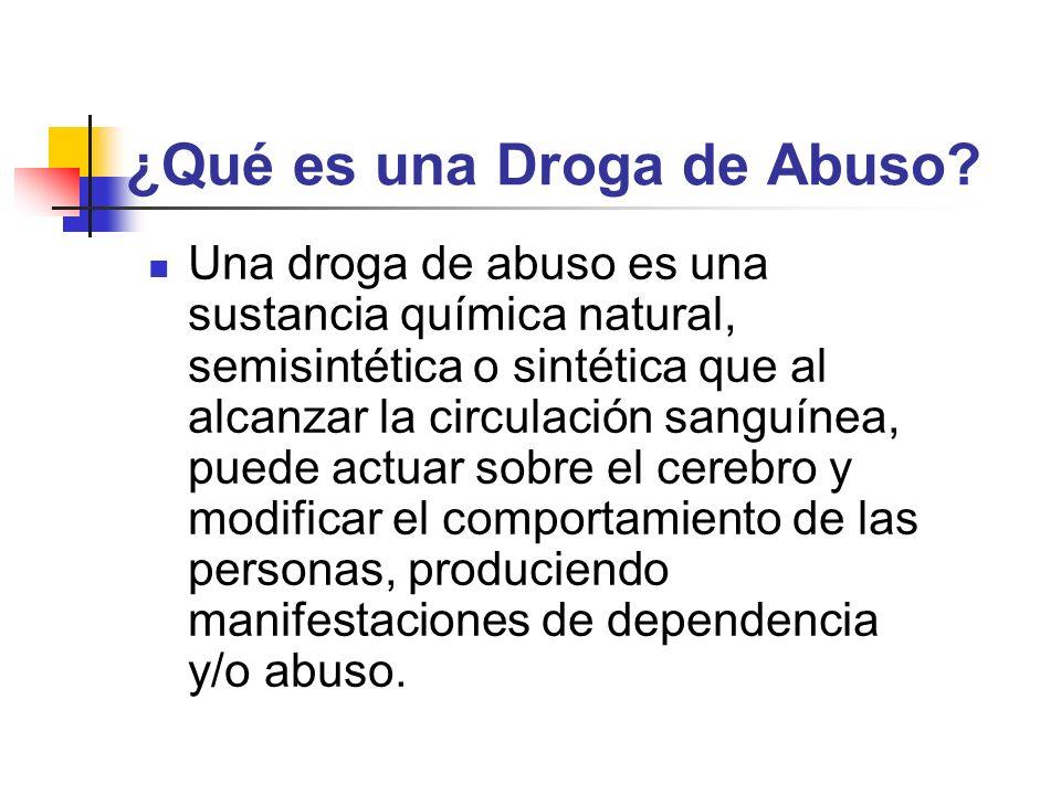 ¿Qué es una Droga de Abuso? Una droga de abuso es una sustancia química natural, semisintética o sintética que al alcanzar la circulación sanguínea, p