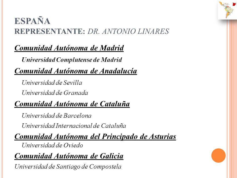 ESPAÑA REPRESENTANTE: DR. ANTONIO LINARES Comunidad Autónoma de Madrid Universidad Complutense de Madrid Comunidad Autónoma de Anadalucía Universidad
