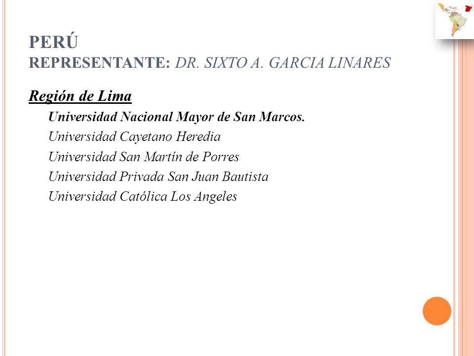 PERÚ REPRESENTANTE: DR. SIXTO A. GARCIA LINARES Región de Lima Universidad Nacional Mayor de San Marcos. Universidad Cayetano Heredia Universidad San