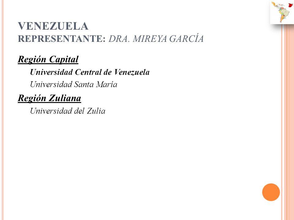 VENEZUELA REPRESENTANTE: DRA. MIREYA GARCÍA Región Capital Universidad Central de Venezuela Universidad Santa María Región Zuliana Universidad del Zul