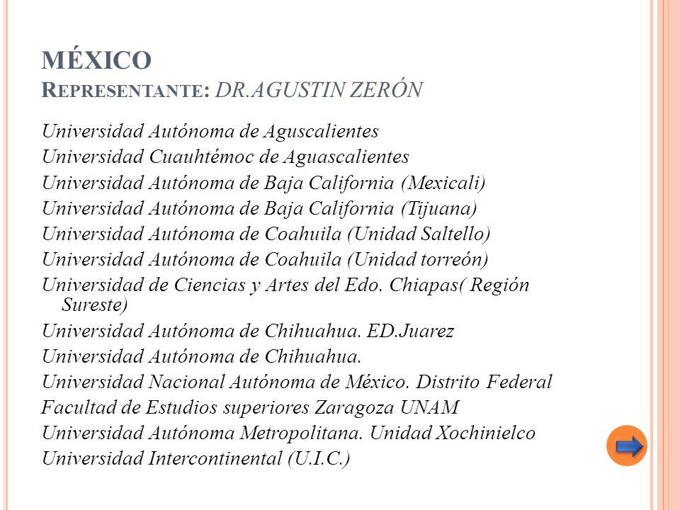 MÉXICO R EPRESENTANTE : DR.AGUSTIN ZERÓN Universidad Autónoma de Aguscalientes Universidad Cuauhtémoc de Aguascalientes Universidad Autónoma de Baja C