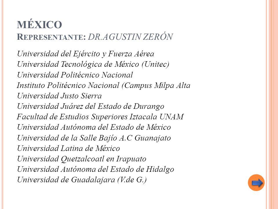MÉXICO R EPRESENTANTE : DR.AGUSTIN ZERÓN Universidad del Ejército y Fuerza Aérea Universidad Tecnológica de México (Unitec) Universidad Politécnico Na