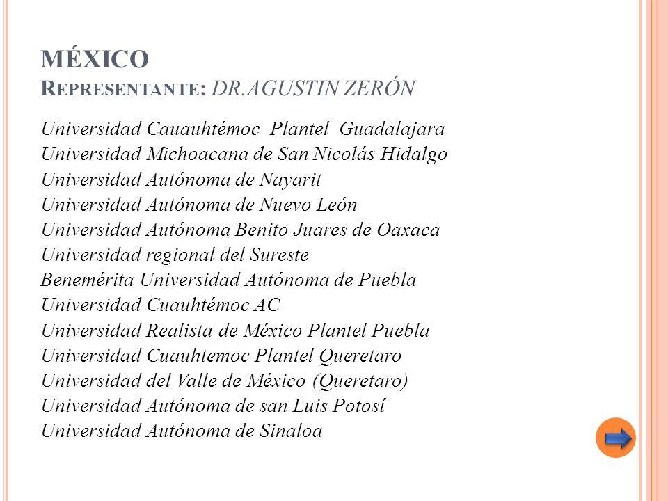 MÉXICO R EPRESENTANTE : DR.AGUSTIN ZERÓN Universidad Cauauhtémoc Plantel Guadalajara Universidad Michoacana de San Nicolás Hidalgo Universidad Autónom