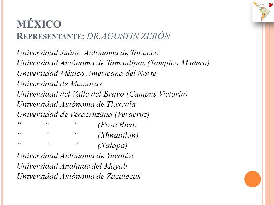 MÉXICO R EPRESENTANTE : DR.AGUSTIN ZERÓN Universidad Juárez Autónoma de Tabacco Universidad Autónoma de Tamaulipas (Tampico Madero) Universidad México