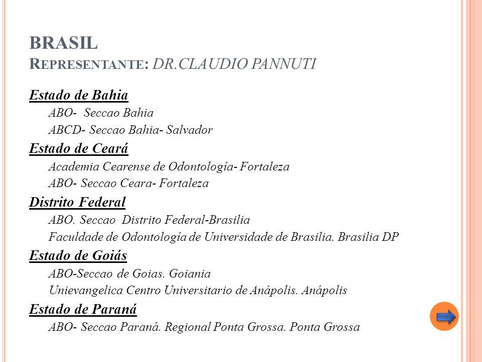 BRASIL R EPRESENTANTE : DR.CLAUDIO PANNUTI Estado de Bahia ABO- Seccao Bahia ABCD- Seccao Bahia- Salvador Estado de Ceará Academia Cearense de Odontol