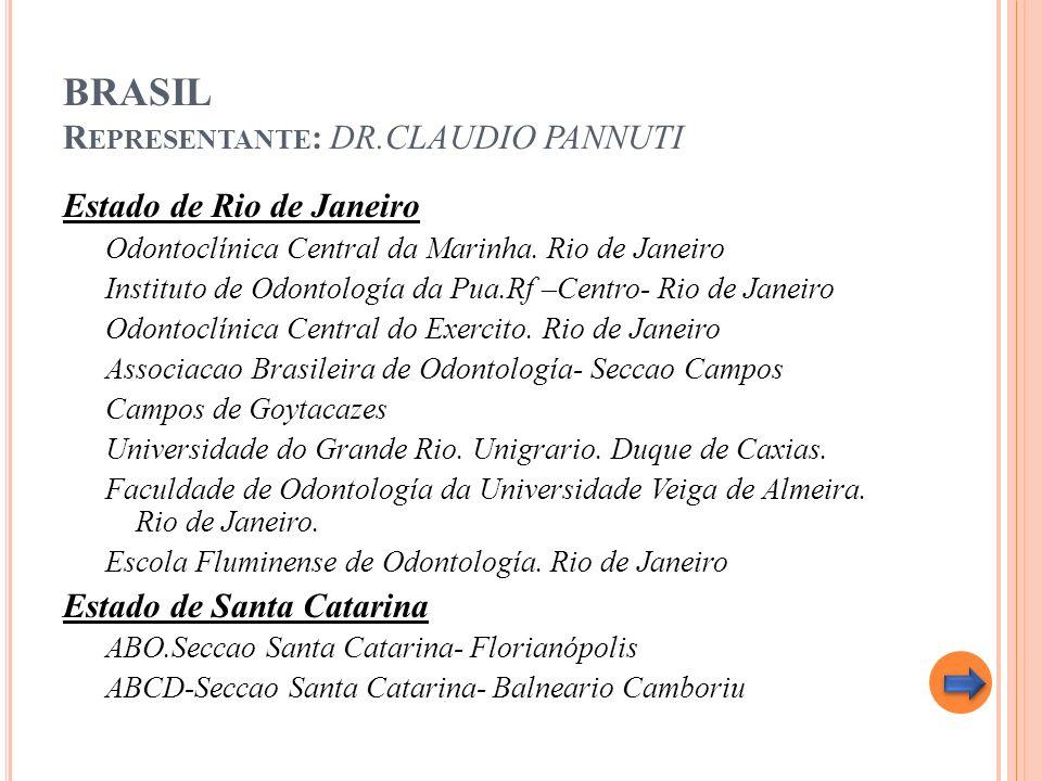 BRASIL R EPRESENTANTE : DR.CLAUDIO PANNUTI Estado de Rio de Janeiro Odontoclínica Central da Marinha. Rio de Janeiro Instituto de Odontología da Pua.R
