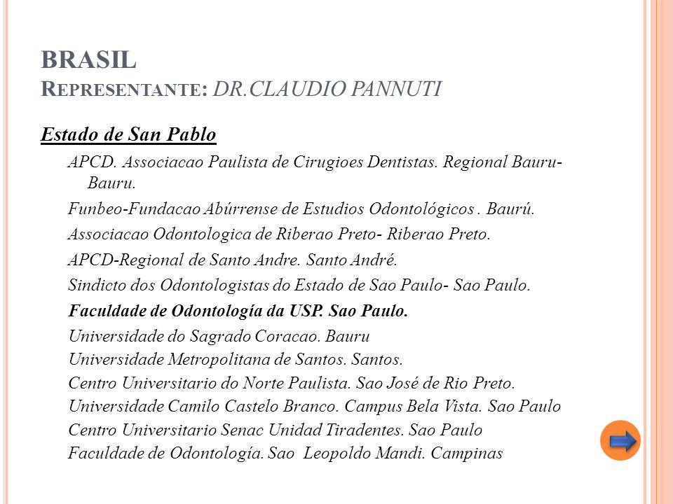 BRASIL R EPRESENTANTE : DR.CLAUDIO PANNUTI Estado de San Pablo APCD. Associacao Paulista de Cirugioes Dentistas. Regional Bauru- Bauru. Funbeo-Fundaca