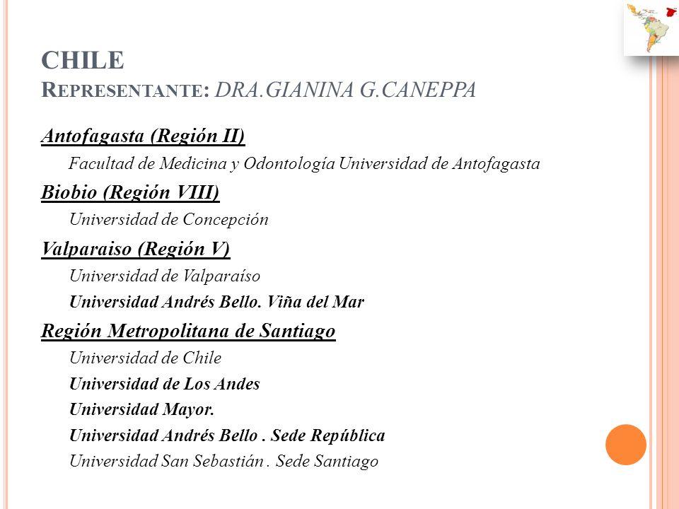 CHILE R EPRESENTANTE : DRA.GIANINA G.CANEPPA Antofagasta (Región II) Facultad de Medicina y Odontología Universidad de Antofagasta Biobio (Región VIII