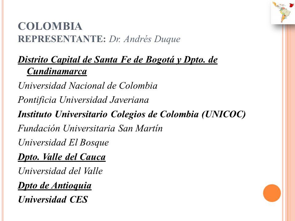 COLOMBIA REPRESENTANTE: Dr. Andrés Duque Distrito Capital de Santa Fe de Bogotá y Dpto. de Cundinamarca Universidad Nacional de Colombia Pontificia Un