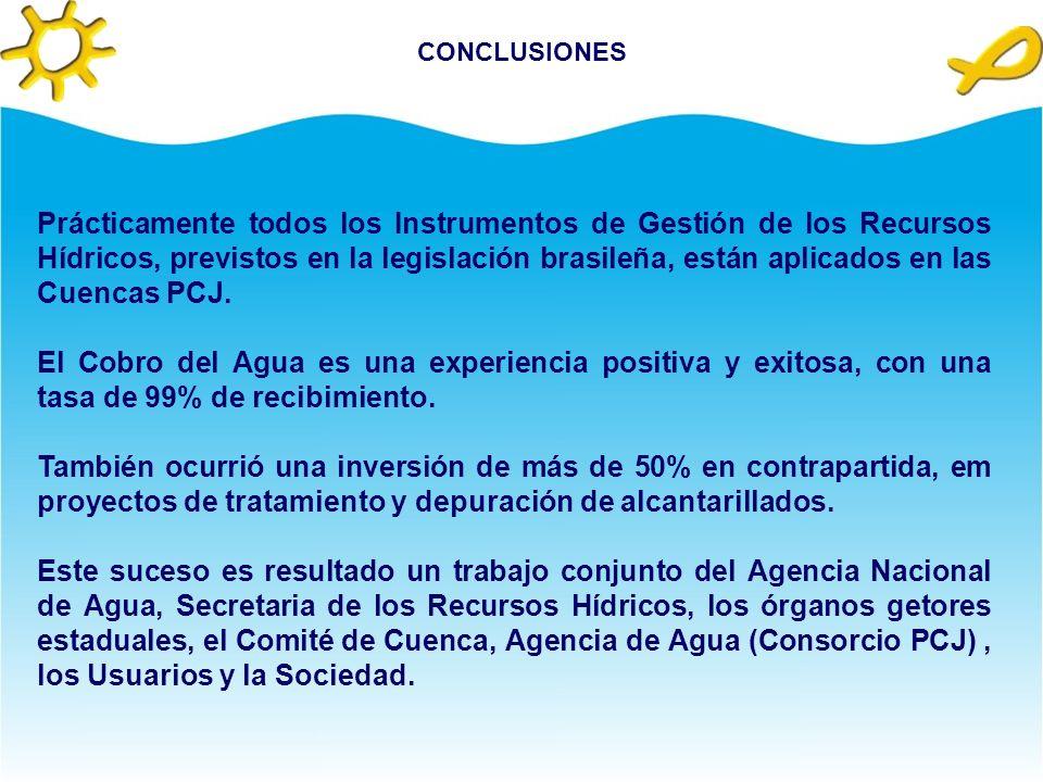 APLICACIÓNES Con los recursos proveniente del Cobro por el Uso del Agua 18 proyectos fueran contemplados. Cobranza= R$ 9.323.935,23 (US$ 4.660.000,00)