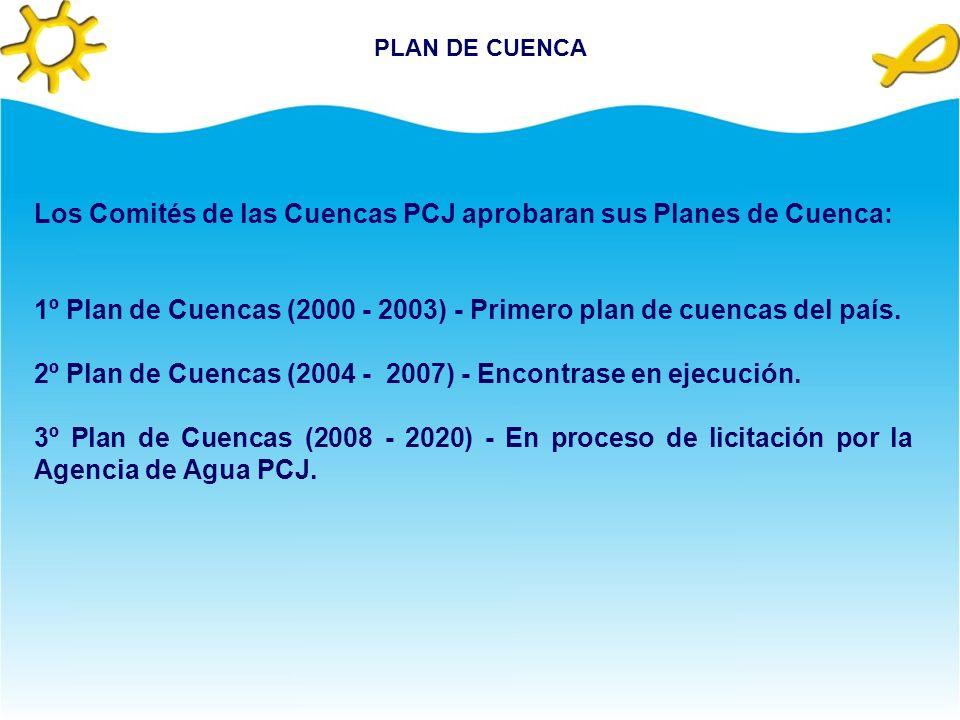 PLAN DE CUENCA Los Comités de las Cuencas PCJ aprobaran sus Planes de Cuenca: 1º Plan de Cuencas (2000 - 2003) - Primero plan de cuencas del país.