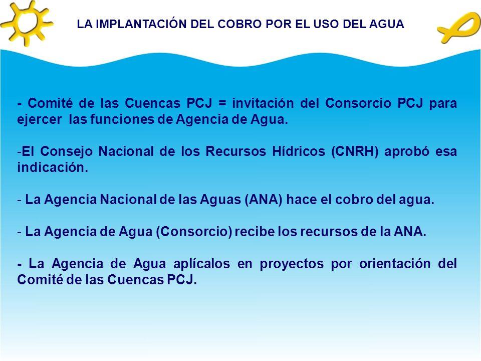 LA IMPLANTACIÓN DEL COBRO POR EL USO DEL AGUA - Comité de las Cuencas PCJ = invitación del Consorcio PCJ para ejercer las funciones de Agencia de Agua.