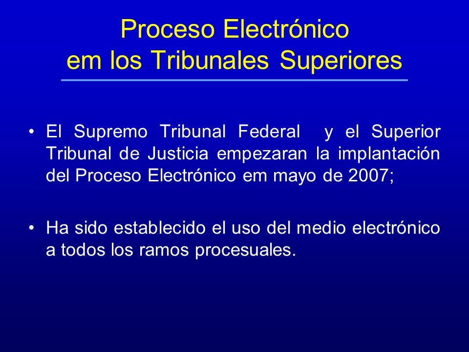Proceso Electrónico em los Tribunales Superiores El Supremo Tribunal Federal y el Superior Tribunal de Justicia empezaran la implantación del Proceso