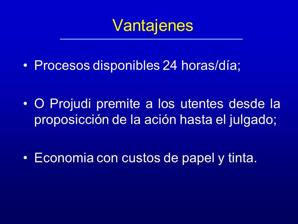 Vantajenes Procesos disponibles 24 horas/día; O Projudi premite a los utentes desde la proposicción de la ación hasta el julgado; Economia con custos