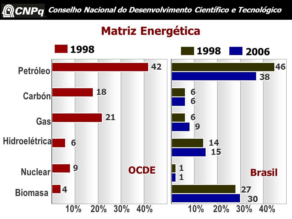 Petróleo Hidroelétrica Gas Carbón Nuclear Biomasa 10% 20% 30% 40% 10% 20% 30% 40% 42 18 21 6 6 9 9 4 4 OCDE Brasil 6 6 6 6 14 1 1 27 46 1998 6 6 9 9 1