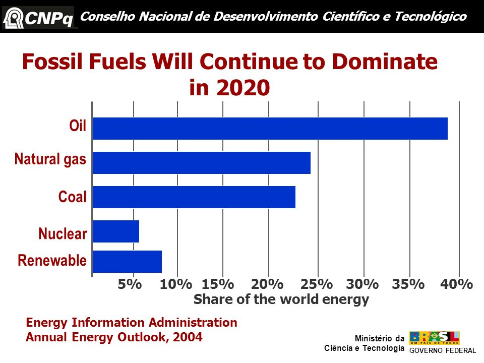 5%10%15%20%25%30%35%40% Fossil Fuels Will Continue to Dominate in 2020 Energy Information Administration Annual Energy Outlook, 2004 Share of the worl