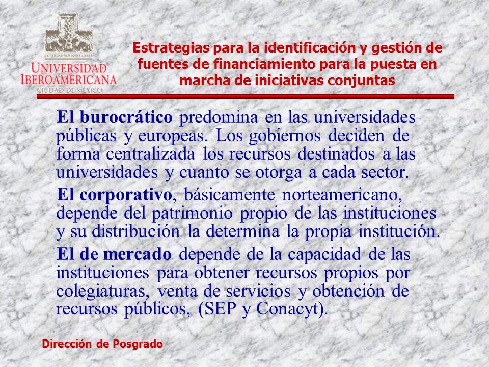 Dirección de Posgrado Estrategias para la identificación y gestión de fuentes de financiamiento para la puesta en marcha de iniciativas conjuntas El b