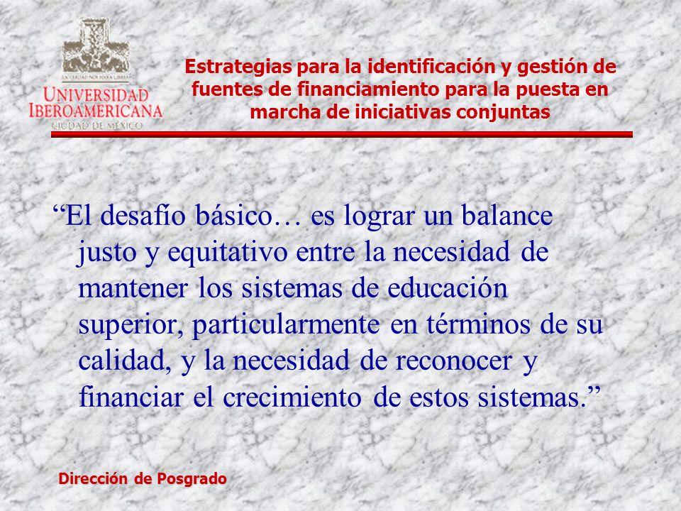 Dirección de Posgrado Estrategias para la identificación y gestión de fuentes de financiamiento para la puesta en marcha de iniciativas conjuntas El d