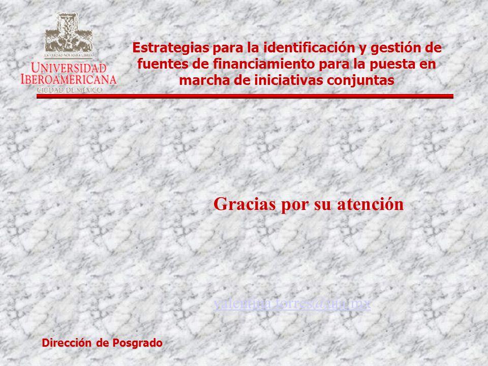 Dirección de Posgrado Estrategias para la identificación y gestión de fuentes de financiamiento para la puesta en marcha de iniciativas conjuntas Grac